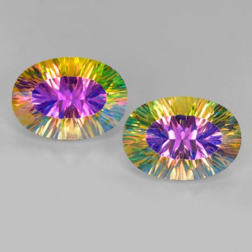 Multicolor Mystic Quartz Gem - 5.1ct Oval Concave Cut (ID: 482610)