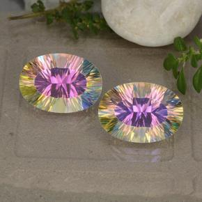 Multicolor Mystic Quartz Gem - 5.1ct Oval Concave Cut (ID: 482616)