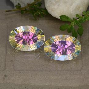 Multicolor Mystic Quartz Gem - 5.4ct Oval Concave Cut (ID: 482618)
