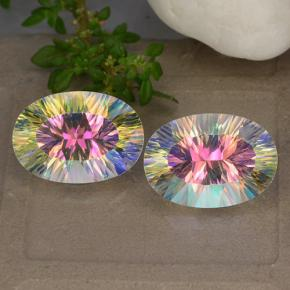Multicolor Mystic Quartz Gem - 5.2ct Oval Concave Cut (ID: 482619)