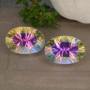 Multicolor Mystic Quartz Gem - 5ct Oval Concave Cut (ID: 482622)