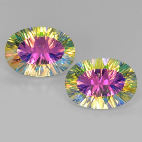 Multicolor Mystic Quartz Gem - 5.2ct Oval Concave Cut (ID: 482626)