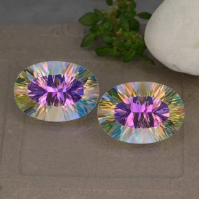 Multicolor Mystic Quartz Gem - 5.3ct Oval Concave Cut (ID: 482630)