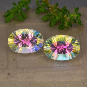 Multicolor Mystic Quartz Gem - 5.3ct Oval Concave Cut (ID: 482669)