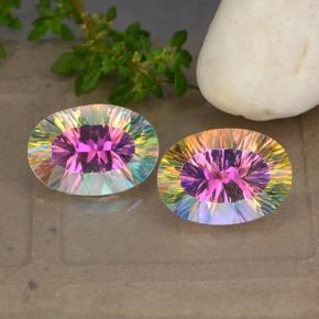Multicolor Mystic Quartz Gem - 4.9ct Oval Concave Cut (ID: 482676)