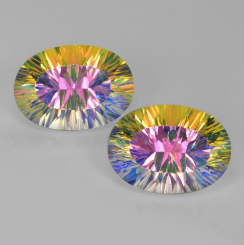 Multicolor Mystic Quartz Gem - 5.1ct Oval Concave Cut (ID: 482728)