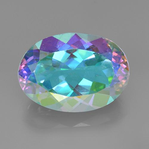 Multicolor Mystic Quartz Gem - 7.4ct Oval Facet (ID: 504802)