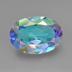Multicolor Mystic Quartz Gem - 6.1ct Oval Facet (ID: 504805)