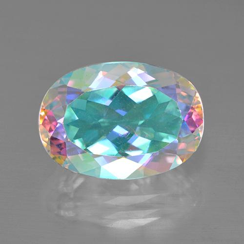 Multicolor Mystic Quartz Gem - 7.2ct Oval Facet (ID: 504881)