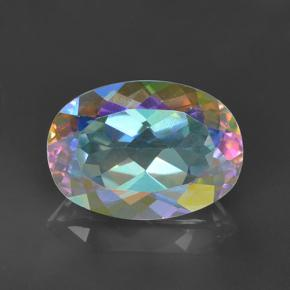 Multicolor Mystic Quartz Gem - 7.8ct Oval Facet (ID: 504894)