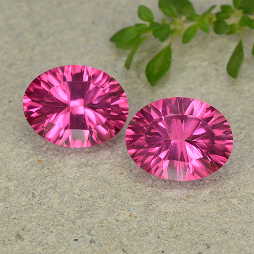 2.19 ct Oval Concave Cut Deep Magenta Mystic Topaz Gemstone 9.20 mm x 7.2 mm (Product ID: 482982)