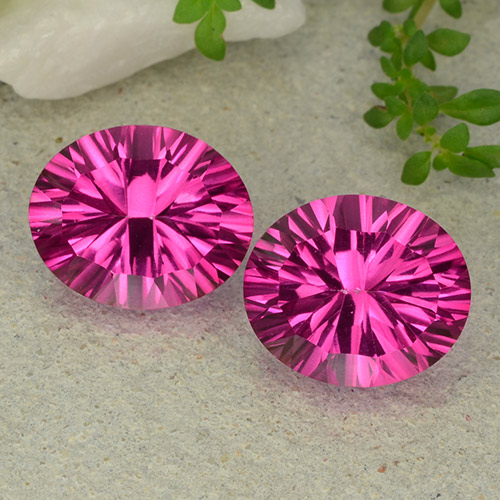 Purplish Pink Mystic Topaz Gem - 5.4ct Oval Concave Cut (ID: 483059)