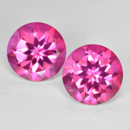 Medium-Dark Pink Mystic Topaz Gem - 4.2ct Round Facet (ID: 487674)