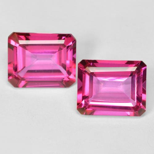Dark Pink Mystic Topaz Gem - 4ct Octagon Step Cut (ID: 489641)