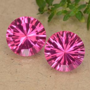 Purplish Pink Mystic Topaz Gem - 4.1ct Round Concave Cut (ID: 489771)