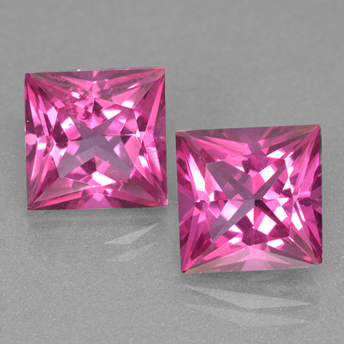 6.4ct Princess-Cut Dark Pink Mystic Topaz Gem (ID: 499539)