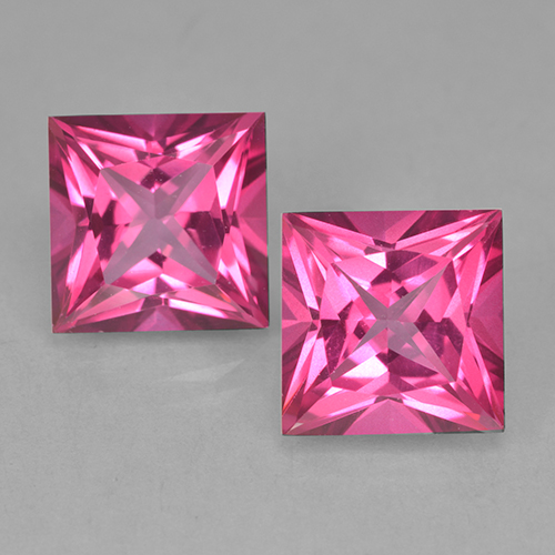 Purplish Pink Mystic Topaz Gem - 6.3ct Princess-Cut (ID: 499708)