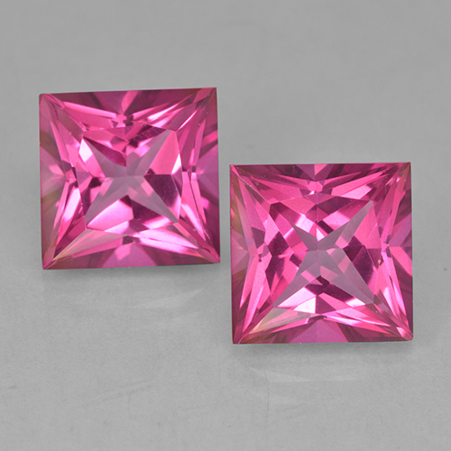 Purplish Pink Mystic Topaz Gem - 6.3ct Princess-Cut (ID: 499712)