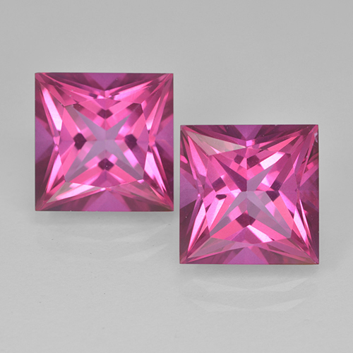 6.26 ct Princess-Cut Dark Pink Mystic Topaz Gemstone 10.03 mm x 10 mm (Product ID: 500014)