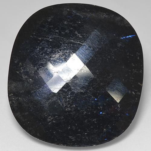 Black with Blue Sparkle Nuummite gemme - 40.3ct Coussin damier (ID: 521040)