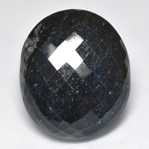 Black with Blue Sparkle Nuummite gemme - 39.4ct Ovale damier (ID: 521041)