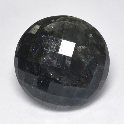 15.30 ct Round Checkerboard (Double-Sided) Black with Blue Sparkle Nuummite Gemstone 16.64 mm  (Product ID: 521042)