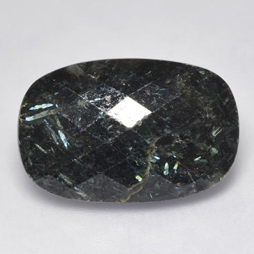 Black with Blue Sparkle Nuummite gemme - 16.1ct Coussin damier (ID: 521046)