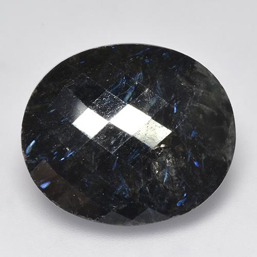 Black with Blue Sparkle Nuummite gemme - 27.6ct Ovale damier (ID: 521047)