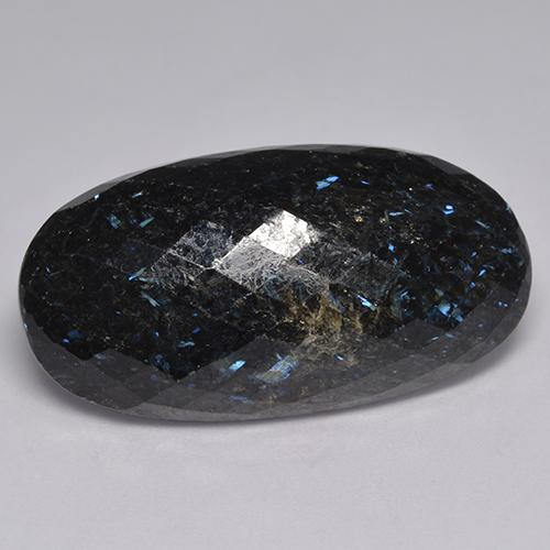 Black with Blue Sparkle Nuummite gemme - 31.8ct Ovale damier (ID: 521205)