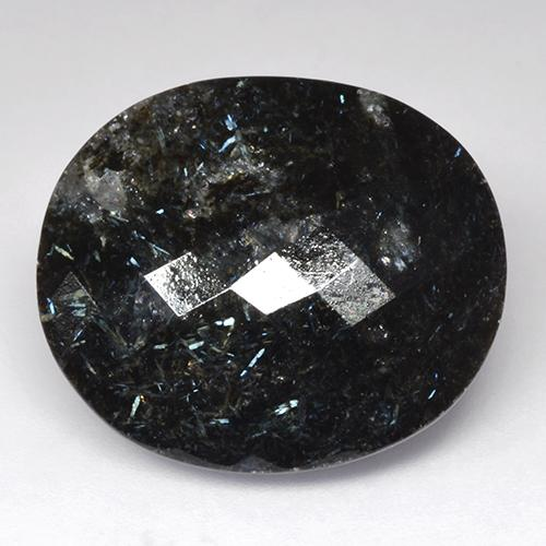 Black with Blue Sparkle Nuummite gemme - 34.9ct Ovale damier (ID: 521411)