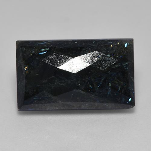 Black with Blue Sparkle Nuummite Gem - 15.5ct Baguette a checkerboard (ID: 522426)