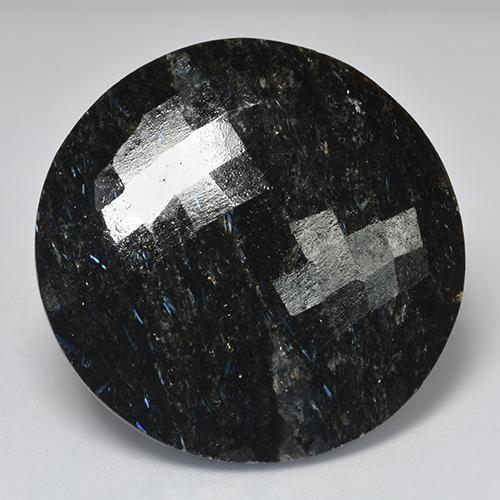 Black with Blue Sparkle Nuummite gemme - 50.9ct Damier taille Ronde (double face) (ID: 524806)