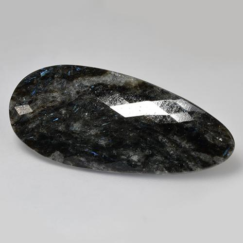 Black with Blue Sparkle Nuummite gemme - 35.8ct Poire Damier (double face) (ID: 524812)