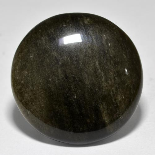 Gold Sheen Black Obsidian Gem - 34.7ct Round Cabochon (ID: 391415)