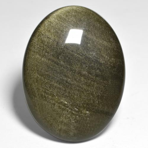 Gold Sheen Black Obsidian Gem - 32.5ct Oval Cabochon (ID: 391418)