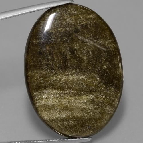 Black Gold Sheen Obsidian Gem - 28.6ct Oval Cabochon (ID: 433618)
