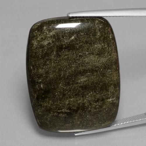 Blackish Brown Obsidian Gem - 47.7ct Cushion Cabochon (ID: 433965)
