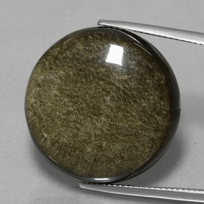 Blackish Brown Ossidiana Gem - 27.1ct Cabochon rotondo (ID: 434099)