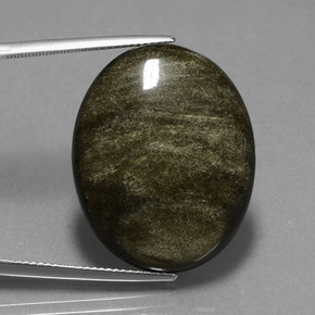 Light Blackish Brown Obsidian Edelstein - 28.8ct Oval Cabochon (ID: 434996)