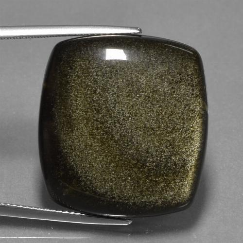 Black Gold Sheen Obsidian Gem - 37.3ct Cushion Cabochon (ID: 434997)