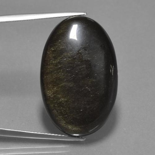 Black with Gold Sheen Obsidian Gem - 28.7ct Oval Cabochon (ID: 435000)