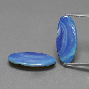 2.75 ct Oval Cabochon Blue Opal Doublet Gemstone 17.53 mm x 7.6 mm (Product ID: 391322)