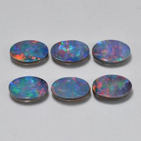 Multicolor Opal Doublet Gem - 0.5ct Oval Cabochon (ID: 503218)