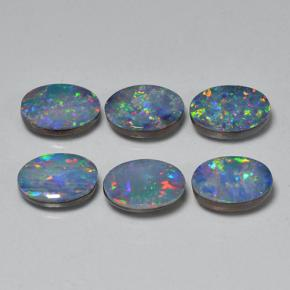 Multicolor Opal Doublet Gem - 0.6ct Oval Cabochon (ID: 503221)