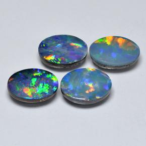 0.89 ct Ovale cabochon Multicolore Opale doppietta Gem 8.02 mm x 6.1 mm (Photo A)