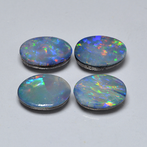 Multicolor Opal Doublet Gem - 0.8ct Oval Cabochon (ID: 503294)