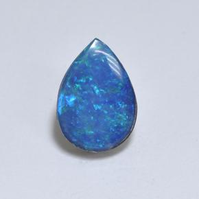Multicolor Opal Doublet Gem - 1.3ct Pear Cabochon (ID: 503564)