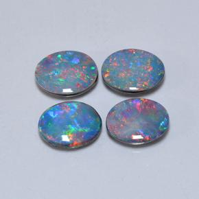 Multicolor Opal Doublet Gem - 0.8ct Oval Cabochon (ID: 503586)