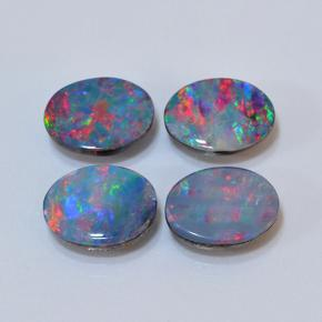 0.9ct Oval Cabochon Multicolor Opal Doublet Gem (ID: 503587)