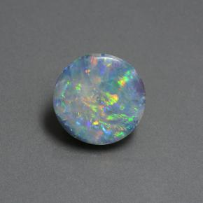 Multicolor Opal Doublet Gem - 4.2ct Round Cabochon (ID: 505378)